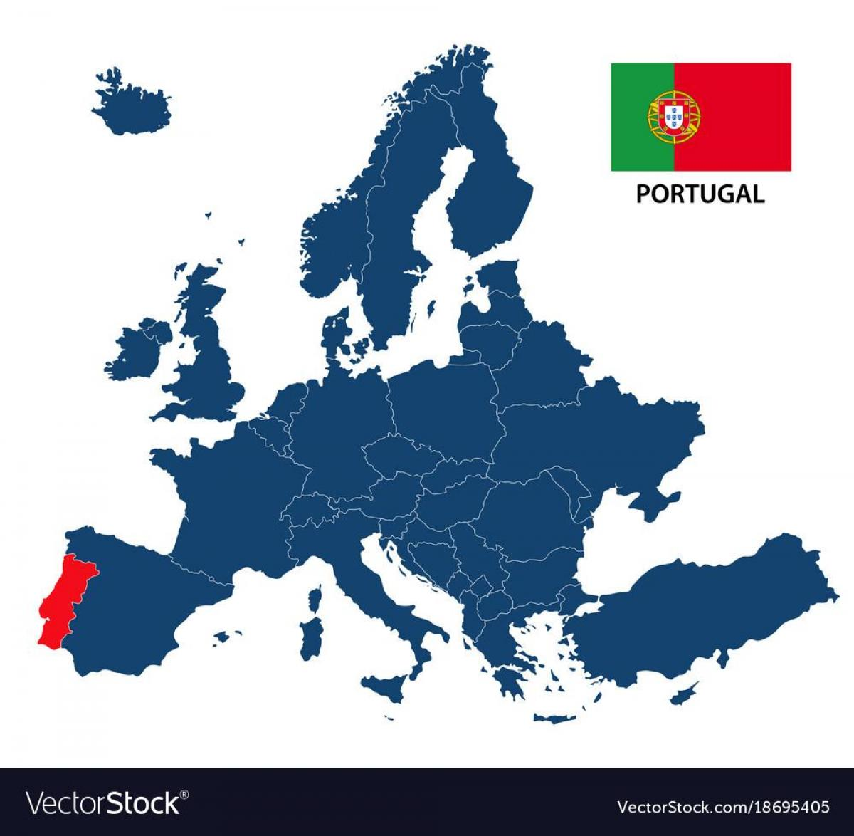 kart av europa Europa kart Portugal   Kart over Portugal i Europa (Sør Europa  kart av europa