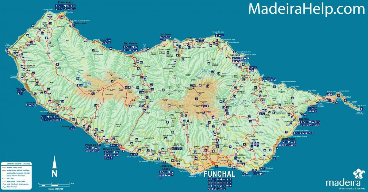 madeira kart Madeira, Portugal, kart   Kart over Portugal Madeira (Sør Europa