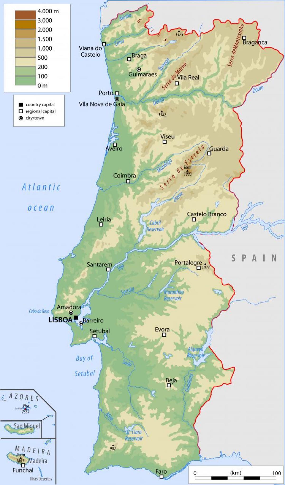 kart over portugal Portugal fysisk kart   Fysisk kart over Portugal (Sør Europa   Europa) kart over portugal