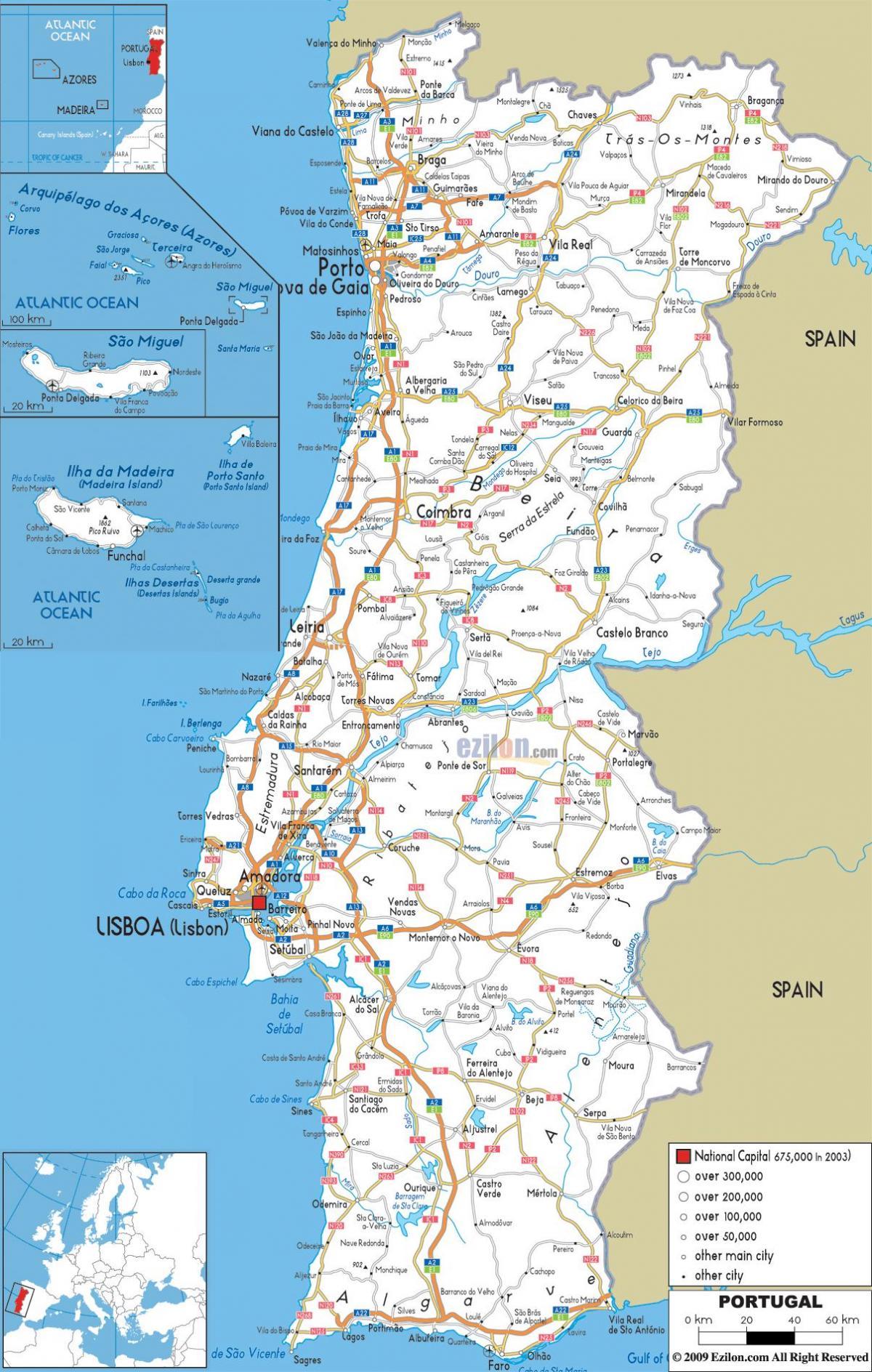 kart over portugal Portugal kart utskrivbare   Utskriftsvennlig kart over Portugal  kart over portugal